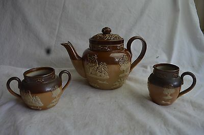 3 Pc Antique Doulton Lambeth Hunting Teapot Sugar Creamer Set Stoneware Windmill