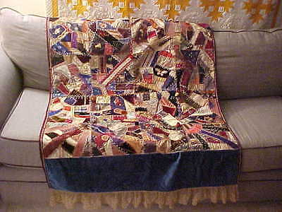 Beautiful Crazy Quilt - fabulous embroidery work  with Hand Made Lace