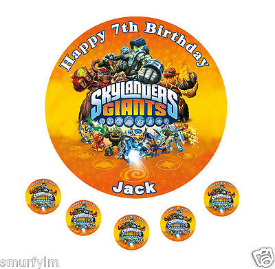 "Skylanders Giants Birthday Round Red L Cake Topper Edible Icing Sugar 7.5/""  20cm"