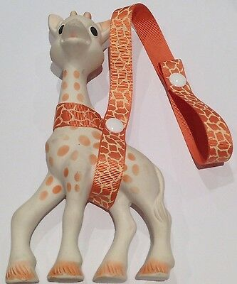Toy Saver Strap for Sophie the giraffe, toys or drink bottle. Tan/cream leopard