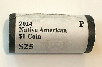 HEAD/TAILS 2014 P Native American Dollar Coin US Mint Sealed Roll P Sacagawea