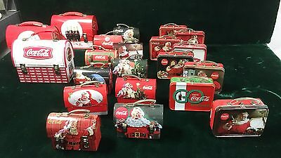 Group of 21 Coca-Cola miniature lunch boxes and suit cases
