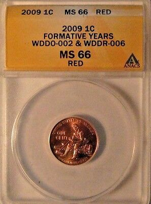 2009 Lincoln Formative ANACS MS66 RED Skeleton Finger Doubled Die Error WDDR-006
