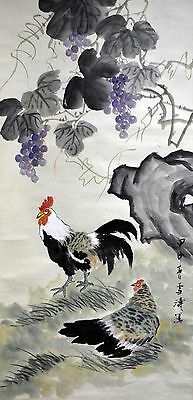 Vintage Chinese Watercolor Rooster under Grapes Wall Hanging Scroll Painting