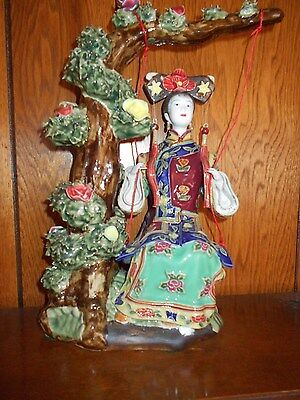 CHINESE LADY FIGURINE On a Swing