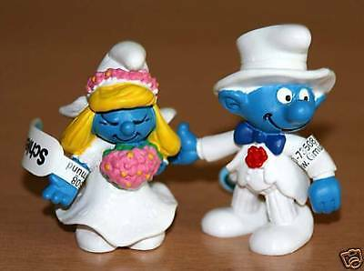 Schleich Smurf Bride and Groom Wedding Smurf - Rare