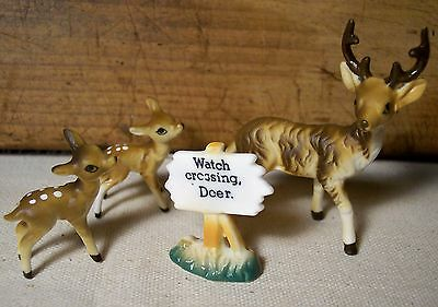 vintage miniature bone china buck deer doe & crossing sign