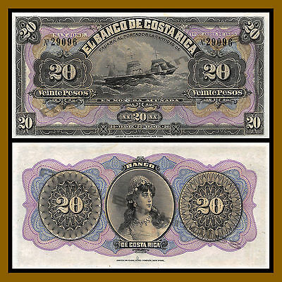 Costa Rica 20 Pesos, 1899 P-S165r Ship & Lady, About Unc (AU)