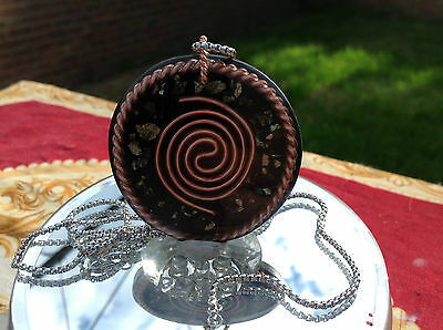 """Tensor Ring & Tesla Coil  Orgone Amulet + FREE 1mm x 22"""" Stainless Steel Chain"""