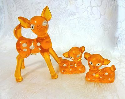 Vintage Bambi Deer Figures Orange Lucite Plastic ~ Mom & Fawns ~ Set of 3