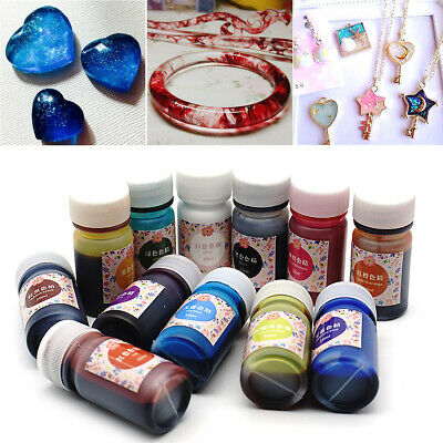 12 Bottle 10G Mix Color Epoxy UV Resin Coloring Dye Colorant Resin Pigment Craft