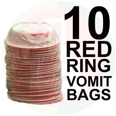 10 Vomit Bags New Stock Emesis Red Ring Twist & Seal High Quality
