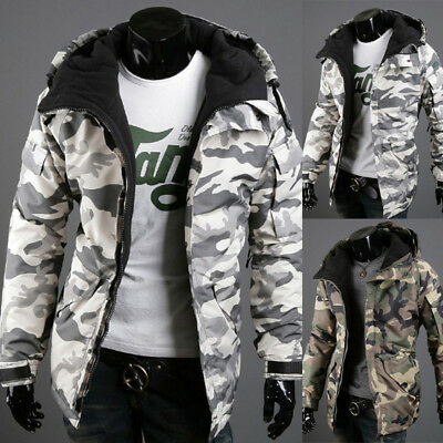 New Fashion Men's Winter Warm Camouflage Hooded Coats Outwear Padded Jackets