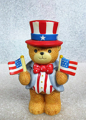 Lucy and Me ~ Uncle Sam Patriotic USA Flag ~ Teddy Bear Porcelain Figurine