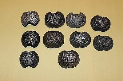 Boy Scout Vintage Lot Of 10 Neckerchief Slide Woggle Eagle Cub Scout