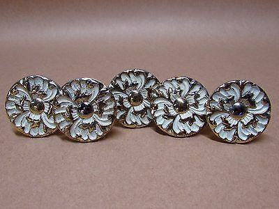 "Lot 5 Vintage French Provincial 1 1/2"" Flower Drawer Pulls Knobs w/Hardware"
