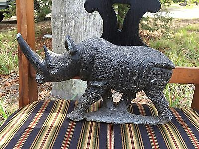 Vintage unknown Metal large Rhino Rhinoseros Sculpture Finely Detailed Heavy
