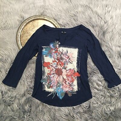 Lucky Brand Top Women's Size M Navy Blue Floral V Neck Long Sleeve Blouse