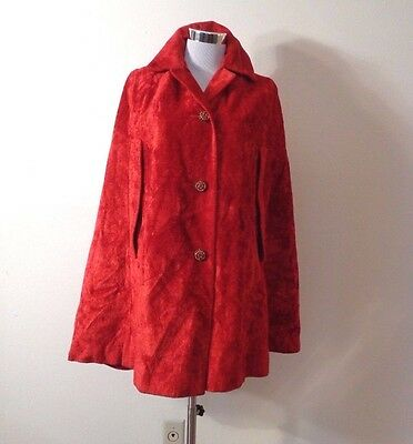 VINTAGE 60s RED PLUSH TAPESTRY BUTTON FRONT MOD GOGO CAPE O/S
