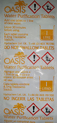 100 Oasis Water Purification Tablets 8.5mg - Expiration Date 102022  NEW STOCK