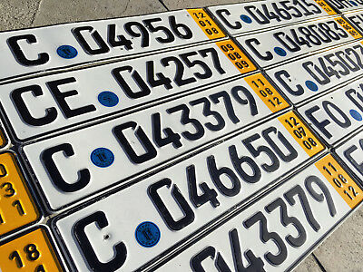 German License Plate - Temporary Yellow with Seal