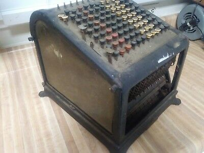 Antique Burroughs Adding Machine Glass sides ASIS For restoration Ships Free