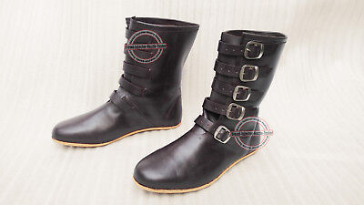 Medieval Leather Boots Re-enactment Mens Shoe Stylish Front Buckle Pirate Look