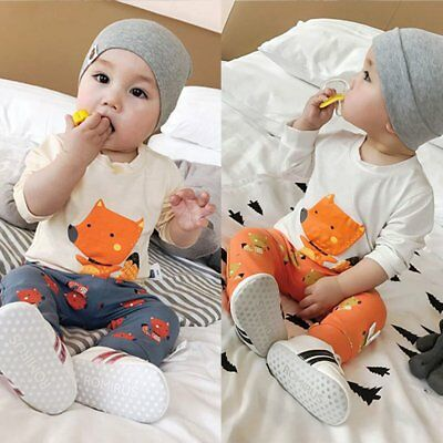 2pcs Newborn Toddler Baby Boy Girl Fox Clothes T-shirt Tops+Leggings Outfits Set