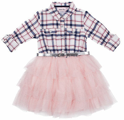 Little Lass Toddler Girls Plaid Belted Tutu Dress