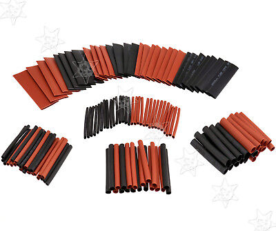 127Pcs Black & Red Heat Shrink Tubing Kit Set Wire Electrical Sleeving Tube 2:1