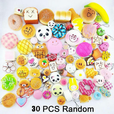 30 X Squishy Charms Kawaii Soft Foods Squishies Cake Phone Straps Charm Toy