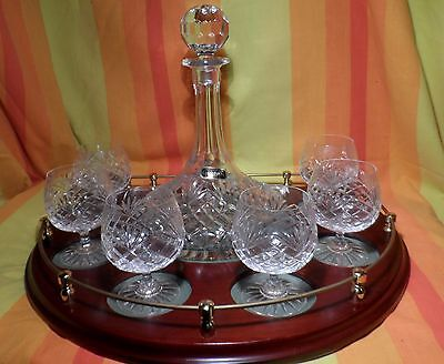 Vintage Coronation Crystal Decanter & Six Glasses On Timber Tray / Display Stand