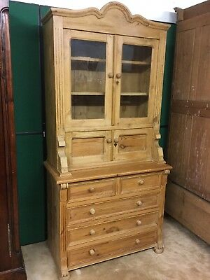 French Reclaimed / Stripped Pine Glazed Dresser With Drawers Under