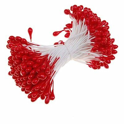 Q4 170 pcs Flower Stamens with Two Beadheads (Red)