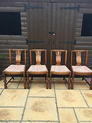 Set Of 4 Vintage Oak Chairs