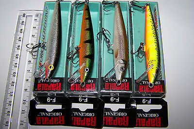 RAPALA FISHING LURES LOT OF 4,  F-9  ORIGINAL FLOATING MINNOWS  Trout, Barra.