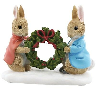 Beatrix Potter A28966 Peter Rabbit and Flopsy Holding Holly Wreath Figurine