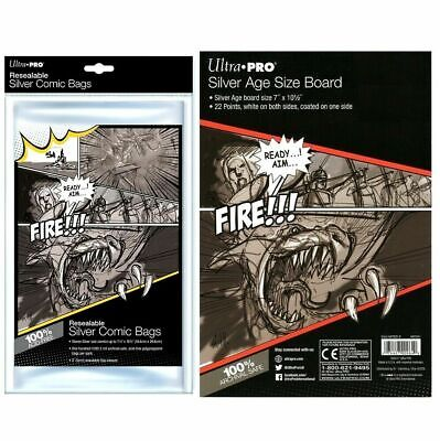 Ultra Pro Silver Age Resealable Comic Bags x 100 + White Backing Boards x 100