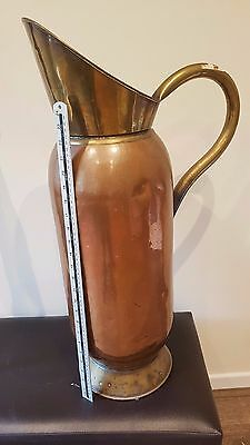 "Very Large 30"" Antique/Art Nouveau copper and brass Pitcher"