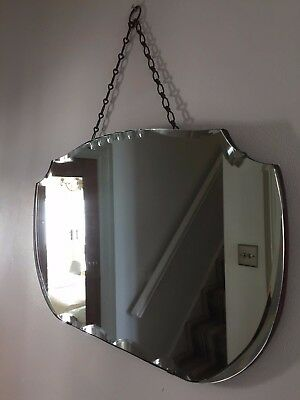 VINTAGE Bevelled Frameless Wall MIRROR Art Deco 1930s 40s Original Chain 55X33cm