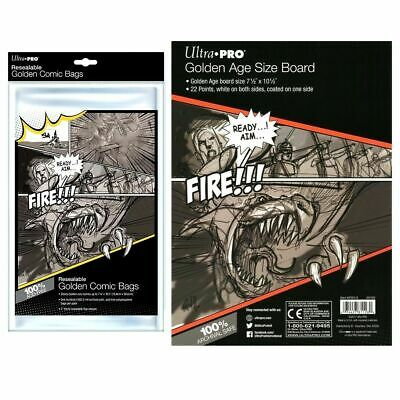 Ultra Pro Golden Size Resealable Comic Bags x 100 + White Backing Boards x 100