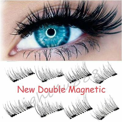 UK 4/8pcs Magnetic Eyelashes Handmade Reusable False Magnet Eye Lashes Extension