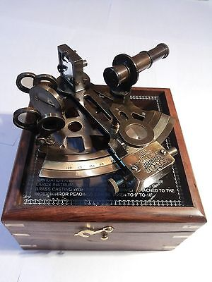 Nautical Maritime ~ Brass Sextant W/ Wooden Box ~ Sextant Astrolabe 4''