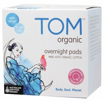 TOM ORGANIC Pads Overnight Wings x10