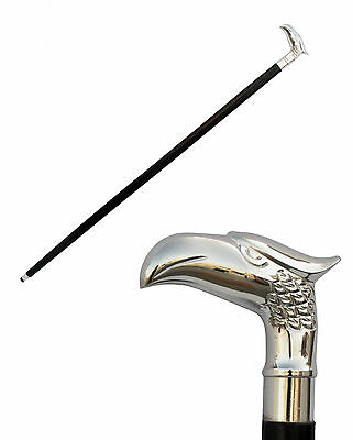 Vintage Designer Brass Handle chrome Style Victorian Cane Wooden Walking Stick