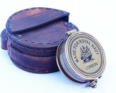 Brass Made for royal navy london Vintage Collectible Compass /leather case