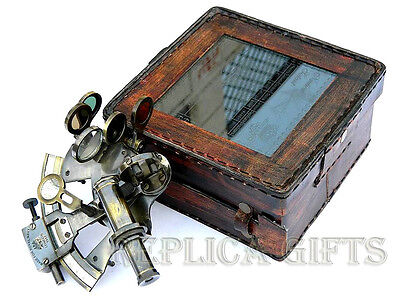 """4"""" SOLID BRASS SEXTANT WITH HANDMADE LEATHER CASE-MARINE GIFT-ASTROLABE 4 pcs"""