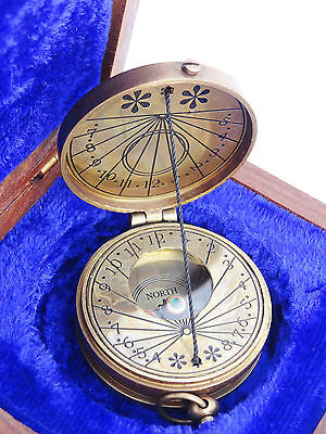 Brass Made for royal navy london Vintage Collectible Compass /wood case