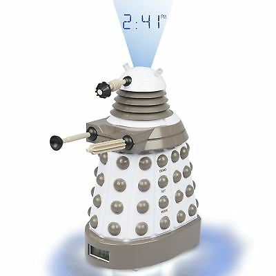 Official DR105 Dr Doctor Who Dalek Digital Projection Alarm Clock - White / Grey