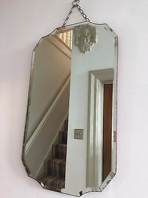 VINTAGE Bevelled Frameless Wall MIRROR 1940s VERTICAL Original Chain 56X33cm